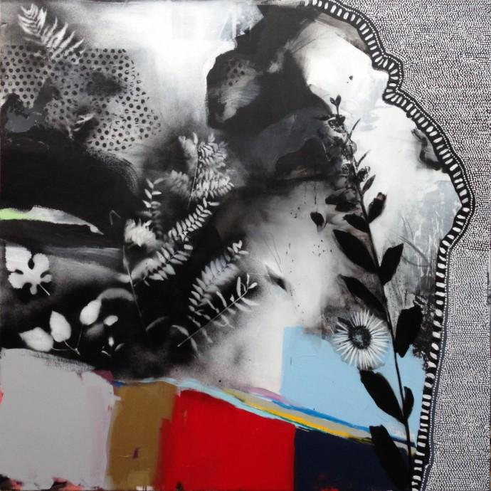 <div class=&#34;artist&#34;><strong>Emily Filler</strong></div><div class=&#34;title&#34;><em>Black + White + Rainbow (I)</em>, 2015</div><div class=&#34;medium&#34;>mixed media on canvas</div><div class=&#34;dimensions&#34;>125.7 x 125.7 cm<br>49 1/2 x 49 1/2 in</div>