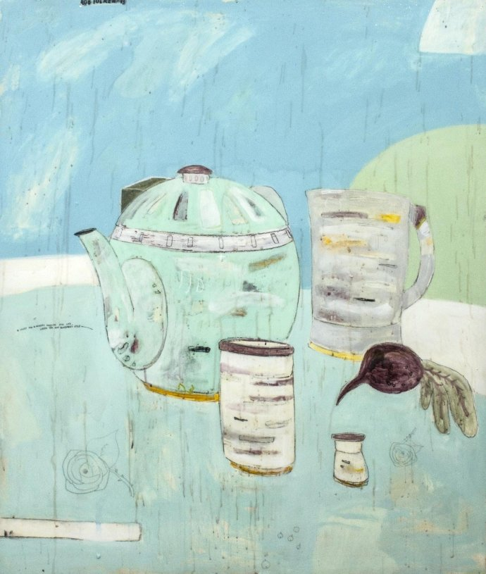 Rob Tucker, A study for a Monday morning still life, green tea and blueberries style, 2013