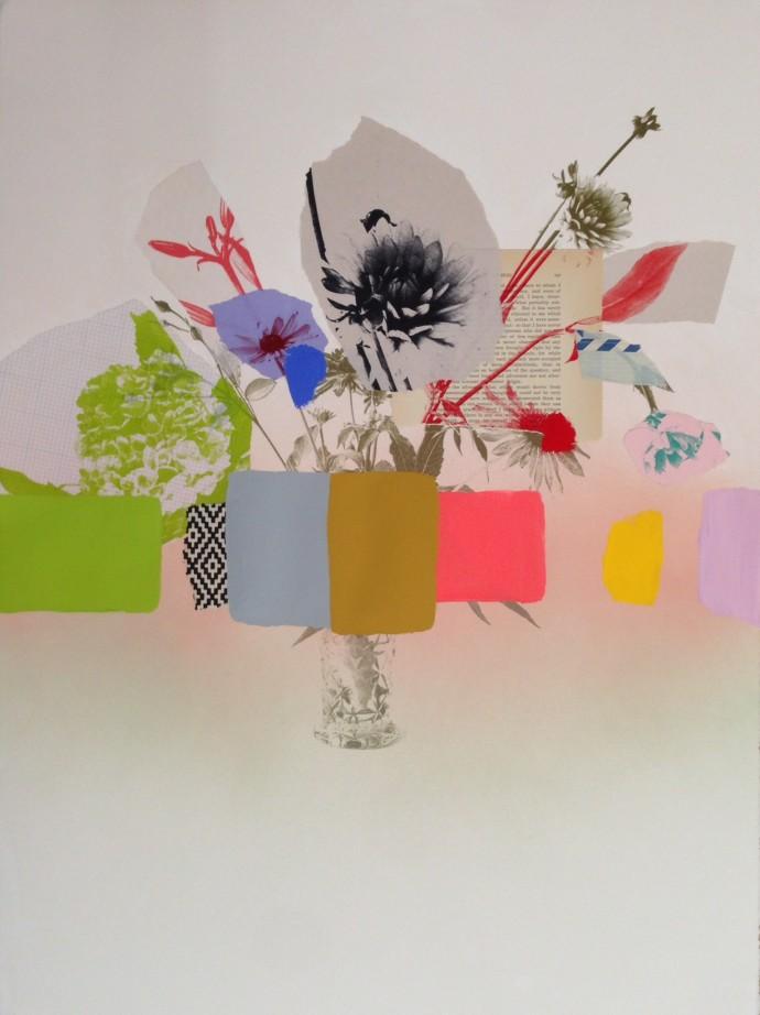 Emily Filler, Paper Bouquet (crystal vase) II , 2017