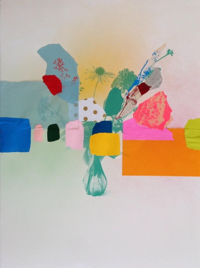 Emily Filler, Paper Bouquet (blue + orange), 2017