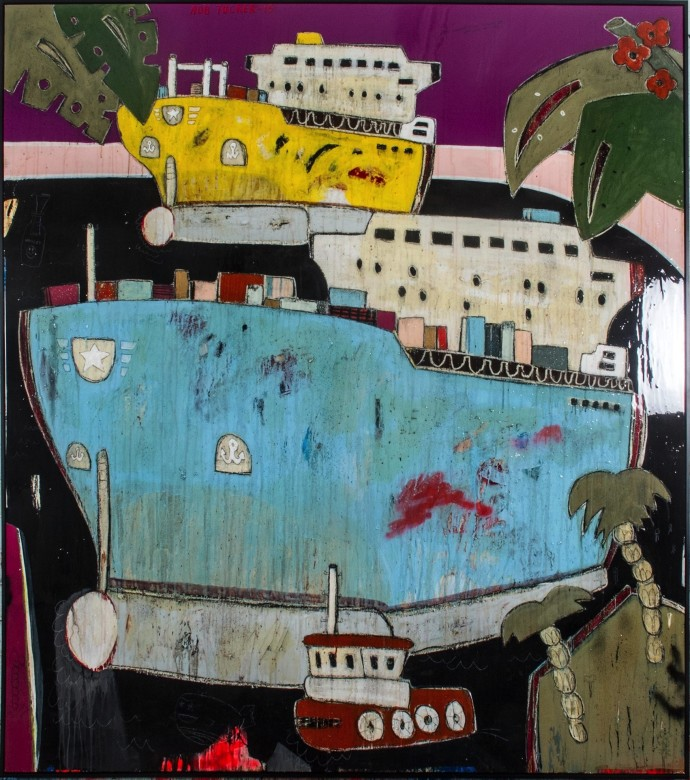 <div class=&#34;artist&#34;><strong>Rob Tucker</strong></div><div class=&#34;title&#34;><em>That Container Is Full Of Berry And White Chockolate Muffins</em>, 2015</div><div class=&#34;medium&#34;>oil and resin on board</div><div class=&#34;dimensions&#34;>202 x 182 cm<br>79 1/2 x 71 5/8 in</div>