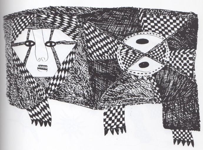 Mathias Kauage, Drawing During Deprssed Phase, '70