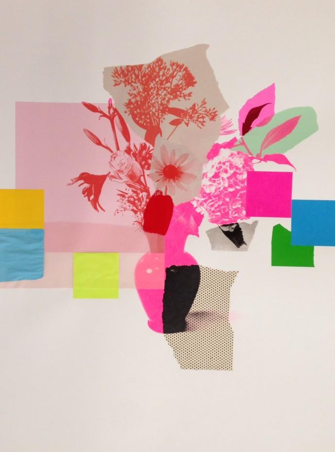Emily Filler, Paper Bouquet (hot pink hydrangea), 2017