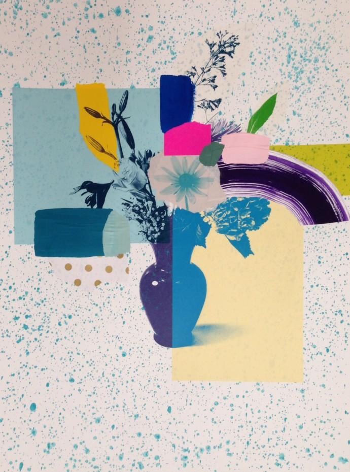 Emily Filler, Paper Bouquet (blue + purple vase), 2017