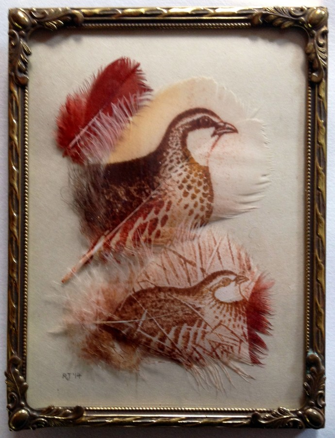 Rebecca Jewell, Partridges with Red Feather in Vintage Frame, 2014