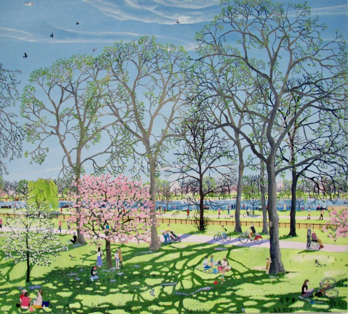 Emma Haworth, Spring Park with Blossom Trees, 2019