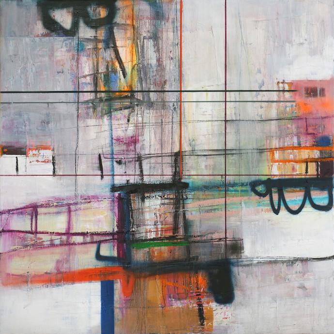 <div class=&#34;artist&#34;><strong>Morten Lassen</strong></div><div class=&#34;title&#34;><em>Integrated M</em>, 2017</div><div class=&#34;medium&#34;>oil and spray paint on linen </div><div class=&#34;dimensions&#34;>90 x 90 cm <br>35 x 35 in</div>