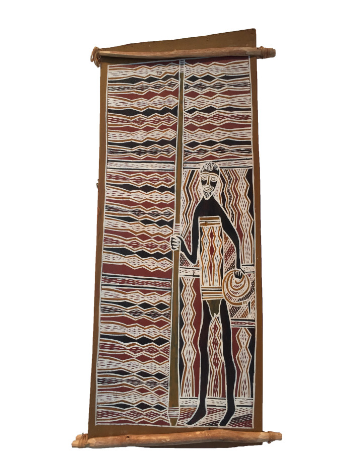 <div class=&#34;artist&#34;><strong>Djambawa Marawili</strong></div> (c. 1953 - ) Yirrkala, Northern Territory<div class=&#34;title&#34;>Untitled </div><div class=&#34;medium&#34;>natural earth pigments on bark </div><div class=&#34;dimensions&#34;>71 x 35 cm (dimensions variable)<br>28 x 13 3/4 in</div>