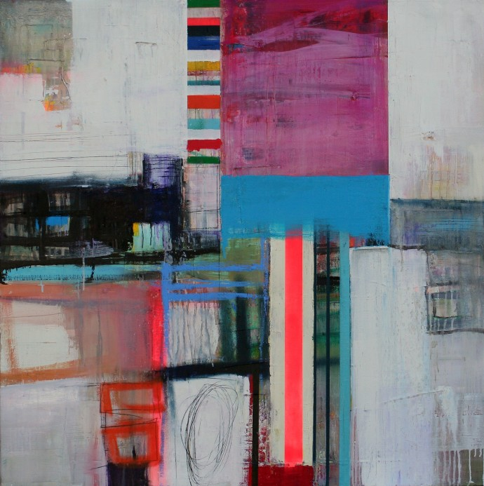<span class=&#34;title_and_year&#34;><em>Surrounded I</em>, 2015<span class=&#34;title_and_year_comma&#34;>, </span></span><span class=&#34;medium&#34;>oil and spray paint on linen<span class=&#34;medium_comma&#34;>, </span></span><span class=&#34;dimensions&#34;>91.5 cm x 91.5 cm</span>