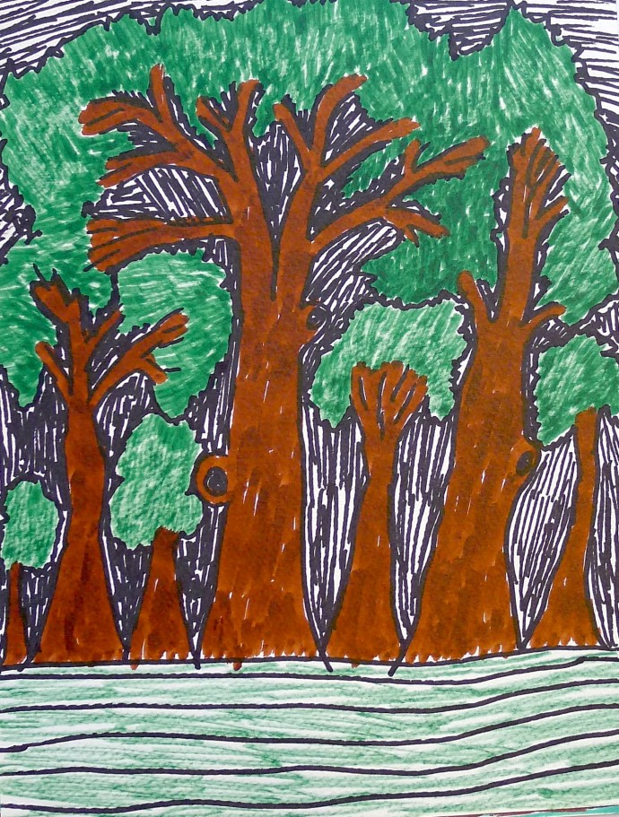 Jimmy Pike, Trees in Russell Square, with squirrel holes