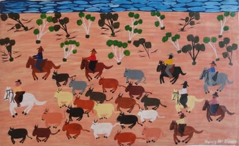 Nancy Mcdinny, Mustering cattle back to station, 2011