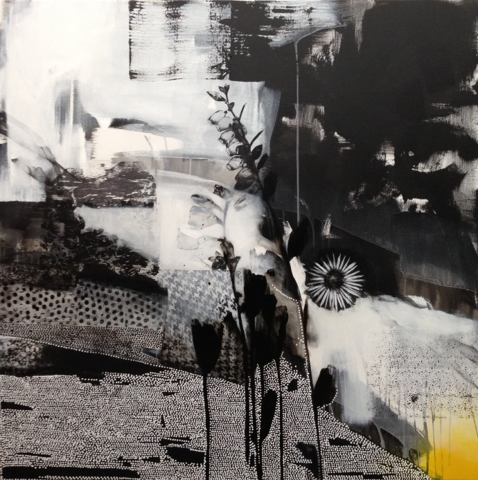 <div class=&#34;artist&#34;><strong>Emily Filler</strong></div><div class=&#34;title&#34;><em>Dreamscape ( Black + White + Yellow)</em>, 2015</div><div class=&#34;medium&#34;>mixed media on canvas</div><div class=&#34;dimensions&#34;>125.7 x 125.7 cm<br>49 1/2 x 49 1/2 in</div>