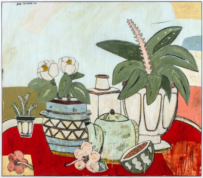 <div class=&#34;artist&#34;><strong>Rob Tucker</strong></div><div class=&#34;title&#34;><em>A study for an ambiguous chamomile and lavender tea party</em>, 2014</div><div class=&#34;medium&#34;>oil and resin on board</div><div class=&#34;dimensions&#34;>122 x 142 cm<br>48 x 56 in</div>