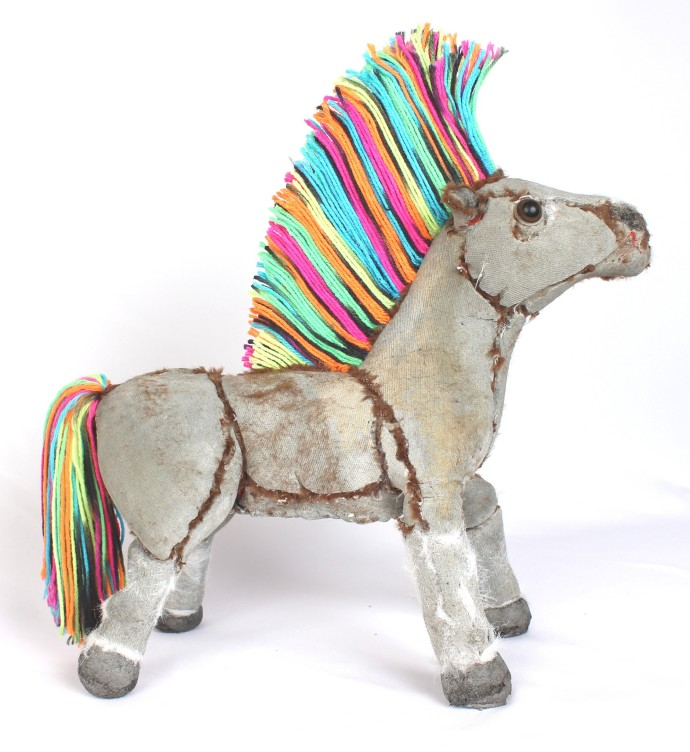 <p>Ross Bonfanti<b>,&#160;</b><i>Rainbow Pony</i><span>, 2015,&#160;</span><span>concrete, toy parts, steel and yarn,&#160;</span><span>18 x 18 x 8 in</span></p>