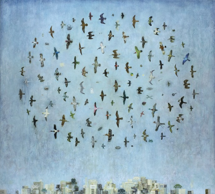 <p><b>Alasdair Wallace, </b><i>Flock</i>, 2015, acrylic on canvas over board, 36 5/8 x 40 1/8 in</p>