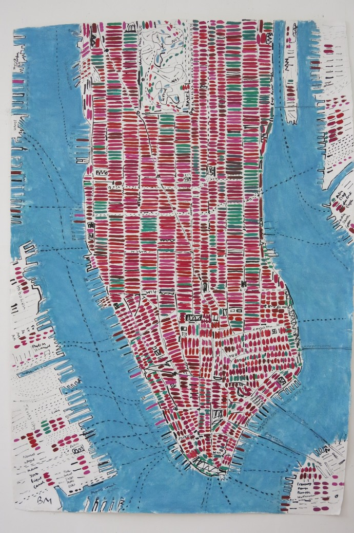 <p><b>Barbara MacFarlane, </b><i>Watermelon Manhattan</i>, 2015, oil and ink on handmade paper, 44 1/2 x 59 1/8 in</p>