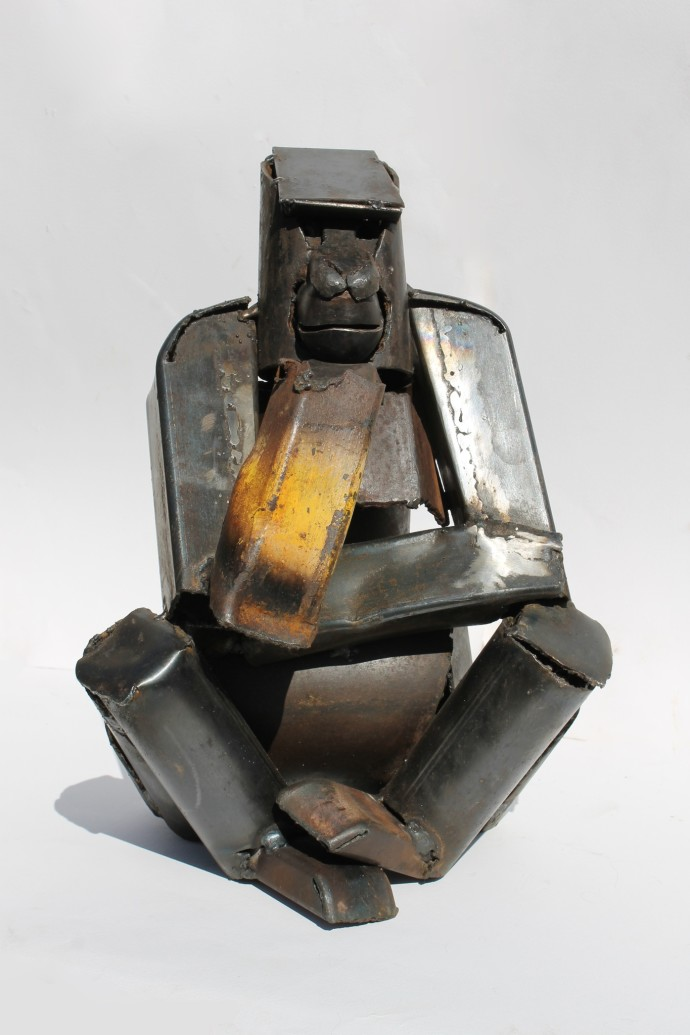 <p><b>Iain Nutting, </b><i>Seated Gorilla</i>, 2015, reclaimed scrap metal, 26 3/4 x 9 7/8 x 29 1/8 in</p>