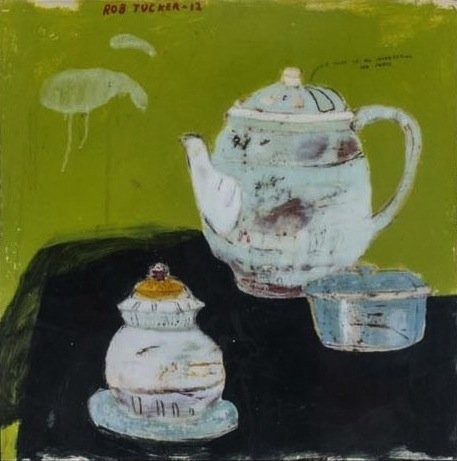 <p><b>Rob Tucker, </b><i>A Study Of An Interesting Tea Party</i>, 2012, oil and resin, 24.5 x 24.5 in</p>
