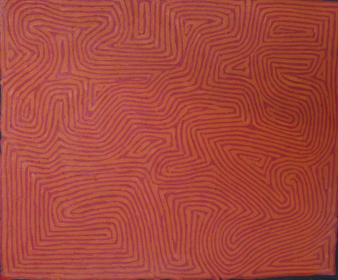 <p><b>George Tjungurrayi</b><span>,&#160;</span><span>Untitled, 2014,&#160;</span><span>inscribed verso: Papunya Tula Artists 1403027,&#160;</span><span>synthetic polymer paint on linen,&#160;</span><span>46 x 38 cm,&#160;</span><span>18 1/8 x 15 in</span></p>