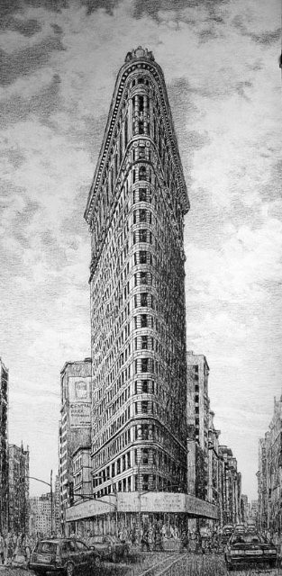 <p><b>Roy Wright,&#160;</b><i>Flatiron Building NYC</i><span>, 2010,&#160;</span><span>charcoal drawing on paper,&#160;</span><span>138.4 x 76.2 cm,&#160;</span><span>54 1/2 x 30 in</span></p>