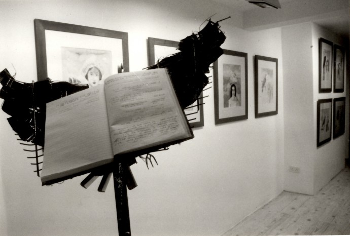 Rebecca Hossack Art Gallery Interior. Paul Moriarty and Ann Carrington Exhibitions. March 1988. Photo by Brian Cooper