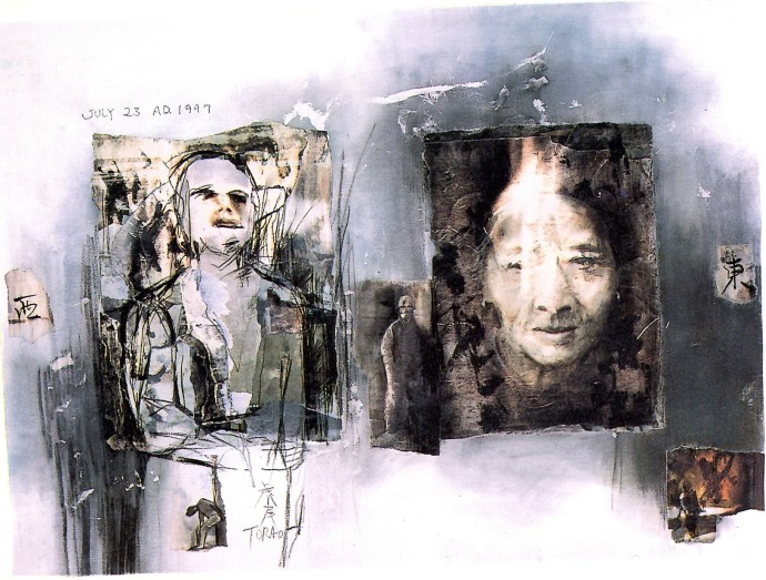 'The East and The West', 1986, pencil, printing ink, collage on paper, 56 x 76 cm