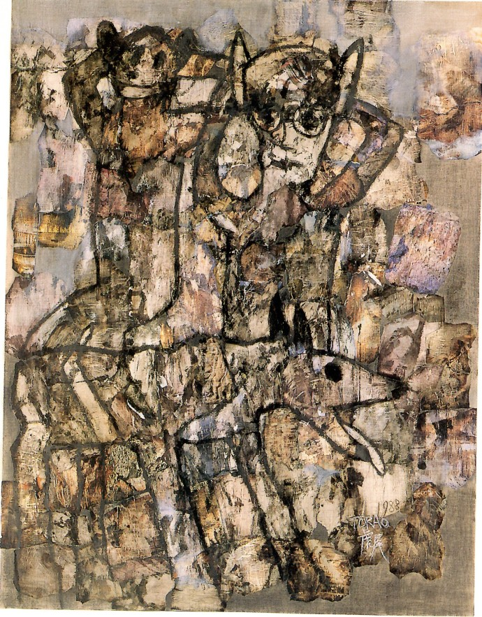 'Without Thinking', 1988, pencil, printing ink, pastel, collage on canvas, 145.5 x 122 cm