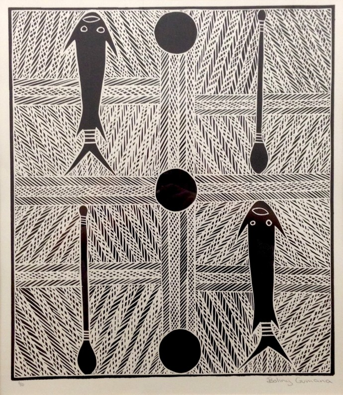Boliny Wanambi, Djarrwark/Top Marrakulu, 1998, linocut, 78 x 65 cm, 30 3/4 x 25 5/8 in (edition of 50)
