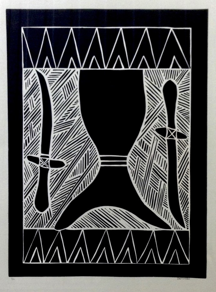 Deturru Yunupingu, Lamamirri - Yumbulul, 1996, linocut, 85 x 64 cm, 33 1/2 x 25 1/4 in (edition of 50)