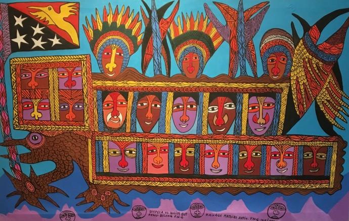 Mathias Kauage, Dispela ol Kolim bot Kenu bilong ,1996, acrylic on canvas, 104 x 168 cm, 41 x 66 1/8 in
