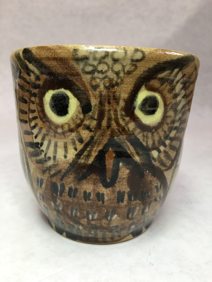 Aaron Murray, Flying Owl Cup, 2019, stoneware cone 6 with clear gloss glaze, stains and underglaze, 10 x 10 x 10 cm