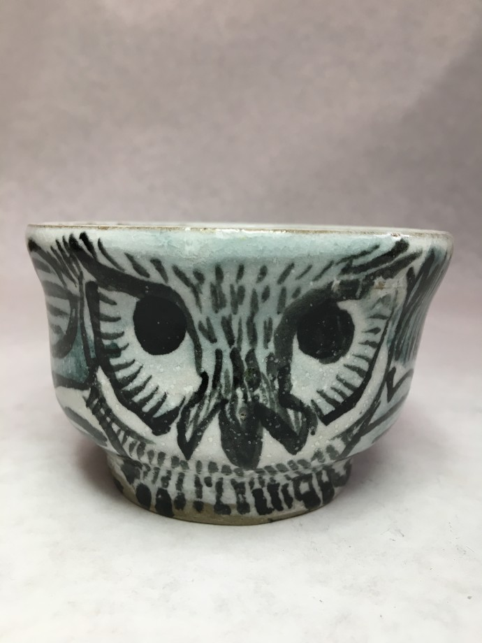 Aaron Murray, Winter Owl Cup, 2019, stoneware cone 6 with white and clear glazes, stains and underglaze, 7 x 10 x 10 cm