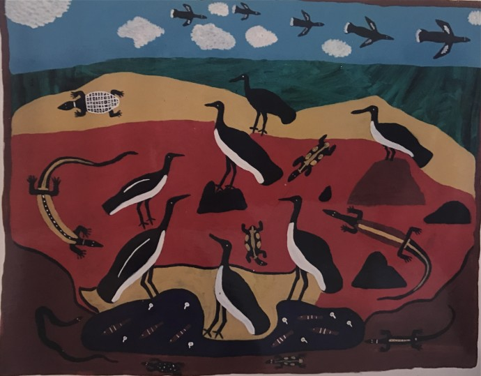 Amy Johnson, Two Birds, 1995, acrylic on canvas, 108 x 129 cm