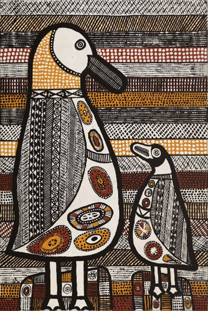 Janice Murray, Jilamarini Tirrintirri (Burdekin Ducks), 2017, three colour sugar lift and aquatint, 90 x 60cm, edition of 30 (#26)