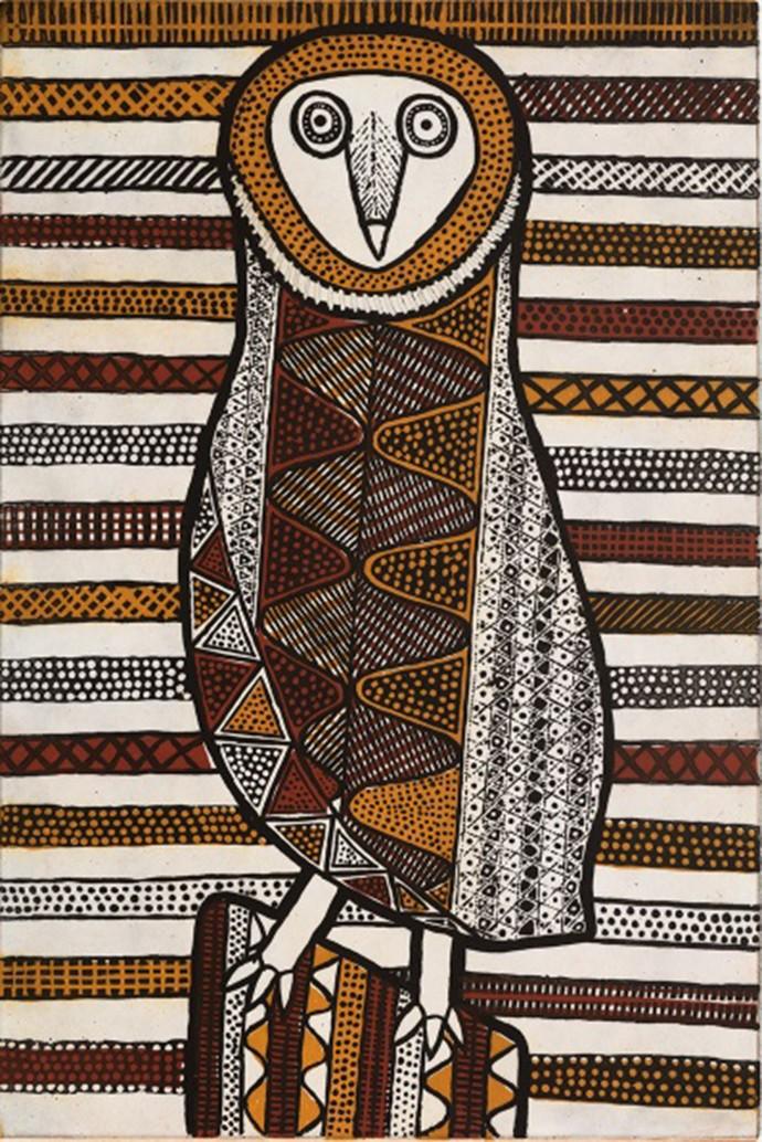 Janice Murray, Pinjoma Jilamarini (Barn Owl), 2017, three colour sugar lift & aquatint, 90 x 60 cm, edition of 30 (#26/30)