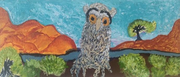 Jane Mervin, Tjulpu Near Creek, 2012, synthetic polymer paint on canvas, 56 x 30 cm (framed)