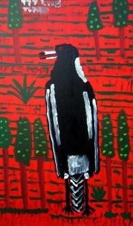 Trevor 'Turbo' Brown (1967 - 2017), Magpie, 2008, acrylic on canvas, 122 x 73