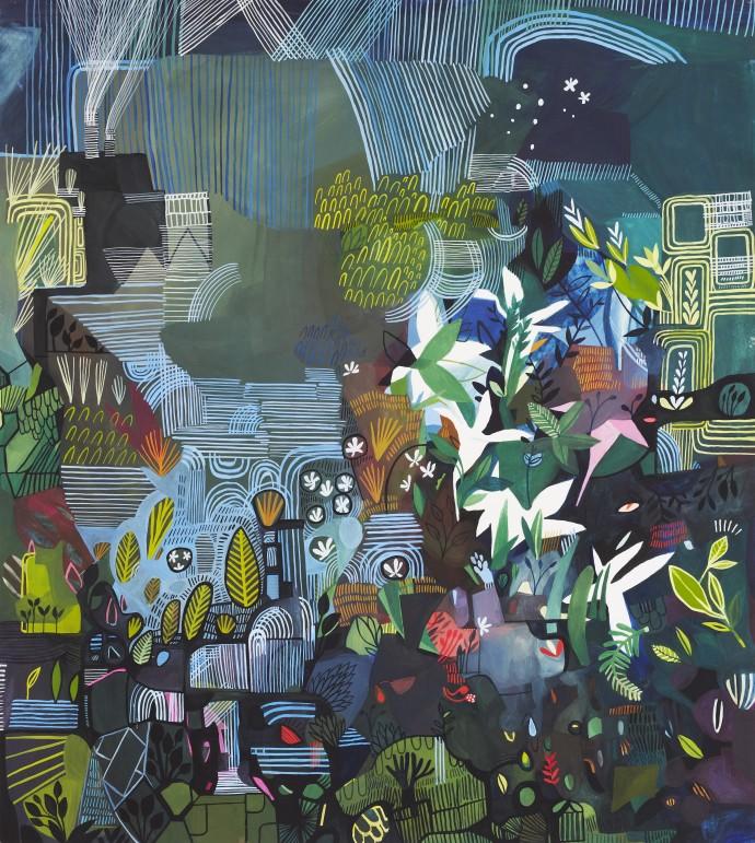 Ashley Amery, Pond & Plants, 2018, gouache on paper, 49 x 55 cm