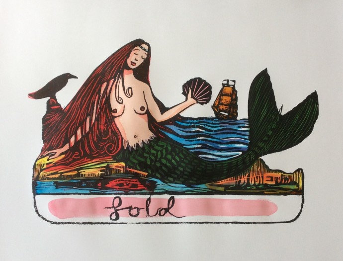 Andrew Mockett, The Siren's Lament, 2018, screen printed woodcut, hand painted with calligraphy inks on Bockingford paper, edition of 20, 136 x 167 cm