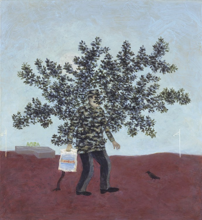 Alasdair Wallace, Camouflage, 2008, acrylic on board, 44 x 40 cm