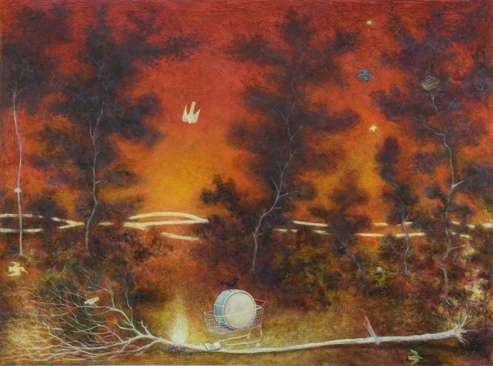 Alasdair Wallace, Campfire, 2010, acrylic on board, 57 x 46 cm