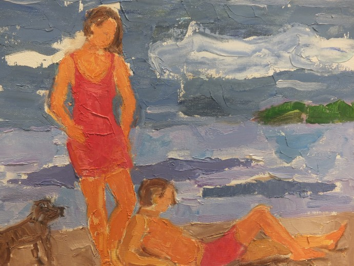 James Farrelly, Beach Scene, oil on canvas, 40 x 50 cm