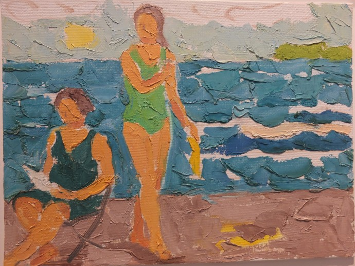 James Farrelly, Green Bathing Suit, oil on canvas, 40 x 50 cm