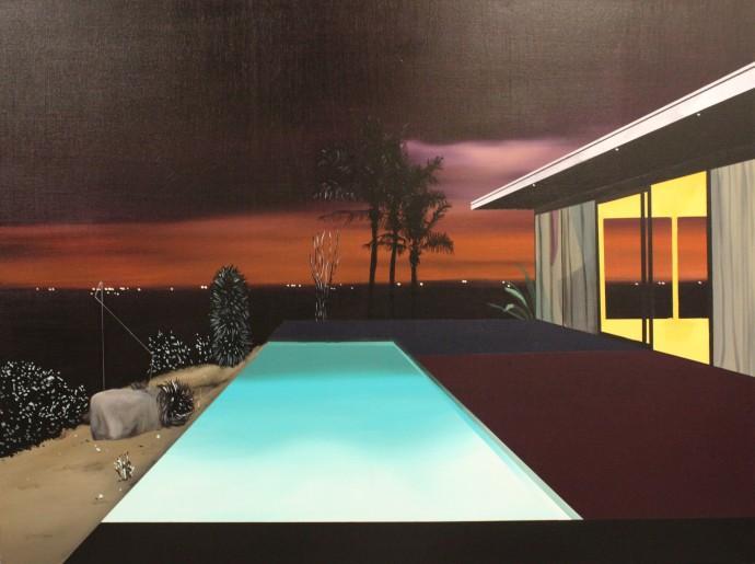 Laurence Jones, Infinity Pool (Night Scene 2), 2018, acrylic and ink on linen, 90 x 120 cm