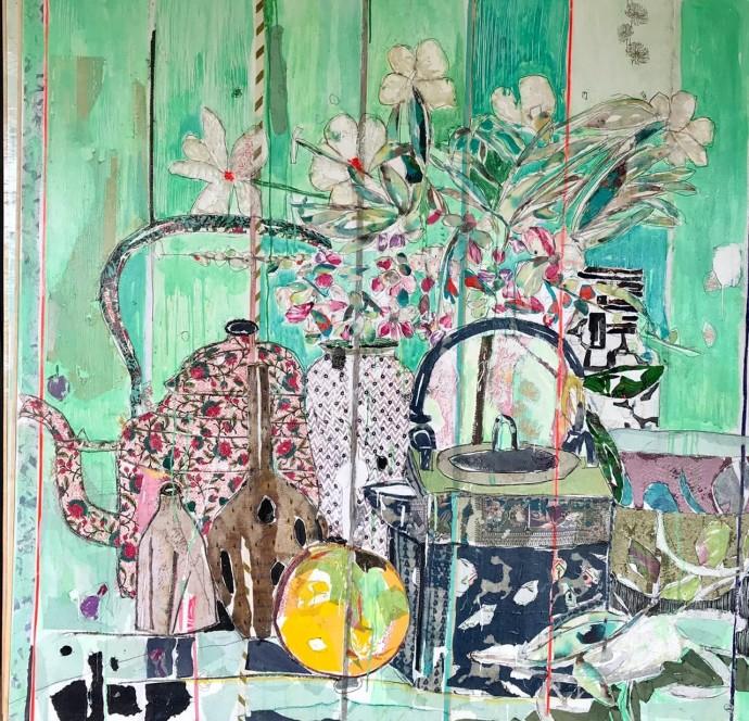 Mersuka Dopazo, Still Life with Kettle, 2018, mixed media, 170 x 150 cm