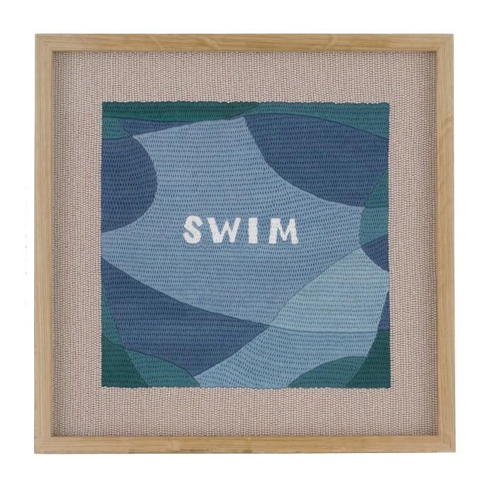 Rose Blake, Swim (Escape), 2018, hand embroidery on silk, 32 x 32 cm