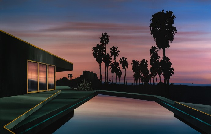 Laurence Jones, Black Palms at Dawn, 2019, acrylic on linen, 180 x 115 cm