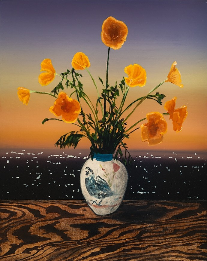 Laurence Jones, California Poppies, 2019, acrylic on linen, 50 x 40 cm