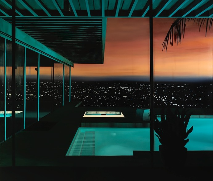 Laurence Jones, Night Pool, 2019, acrylic on linen, 210 x 180 cm
