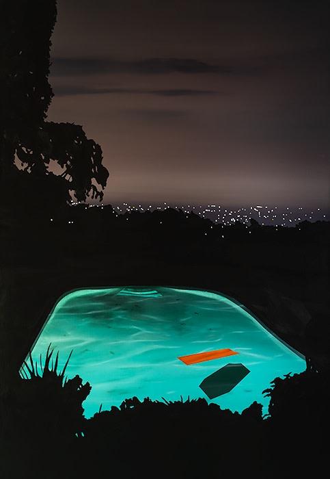 Laurence Jones, Pool with Orange Float, 2019, acrylic on linen, 110 x 160 cm
